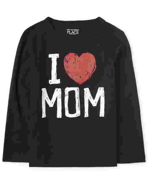 Baby And Toddler Boys Long Sleeve 'I Love Mom' Graphic Tee