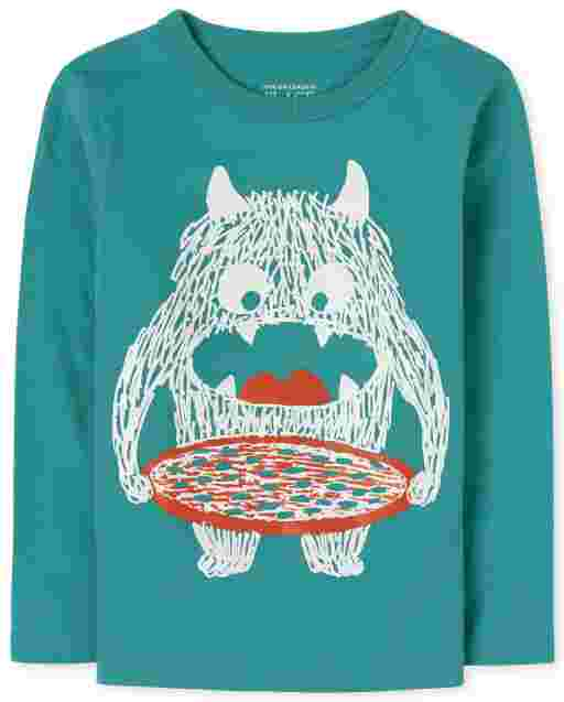 Baby And Toddler Boys Long Sleeve Monster Pizza Graphic Tee