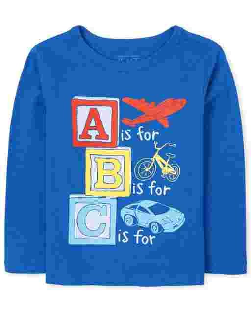 Baby And Toddler Boys Long Sleeve ABC Graphic Tee
