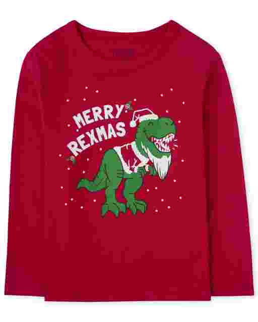 Baby And Toddler Boys Christmas Long Sleeve 'Merry Rexmas' Dino Graphic Tee