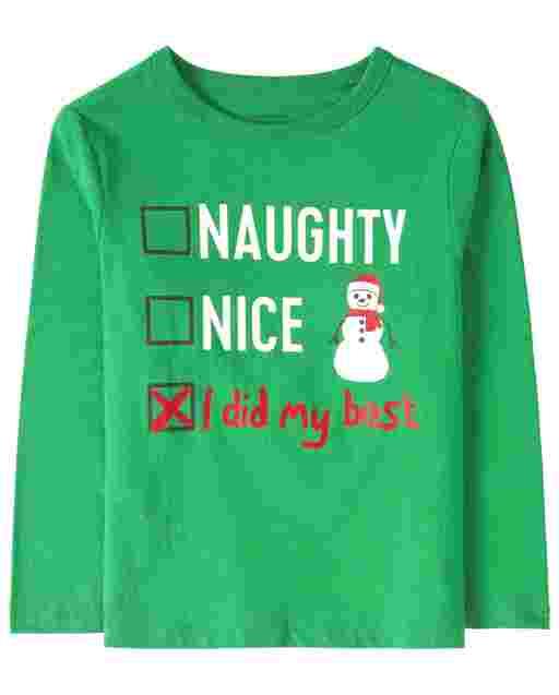 Camiseta de manga larga de Navidad para bebés y niños pequeños ' Naughty Nice I Did My Best ' List Graphic Tee
