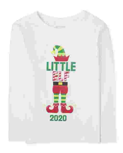 Baby And Toddler Boys Matching Family Christmas Long Sleeve 'Elf 2020' Graphic Tee