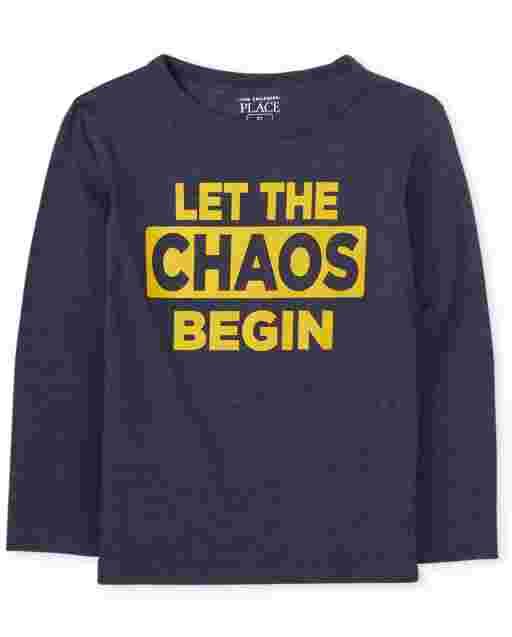 Bebé y niños pequeños de manga larga ' Let The Chaos Begin ' Camiseta gráfica