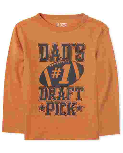 Baby And Toddler Boys Long Sleeve 'Dad's Number 1 Draft Pick' Football Graphic Tee