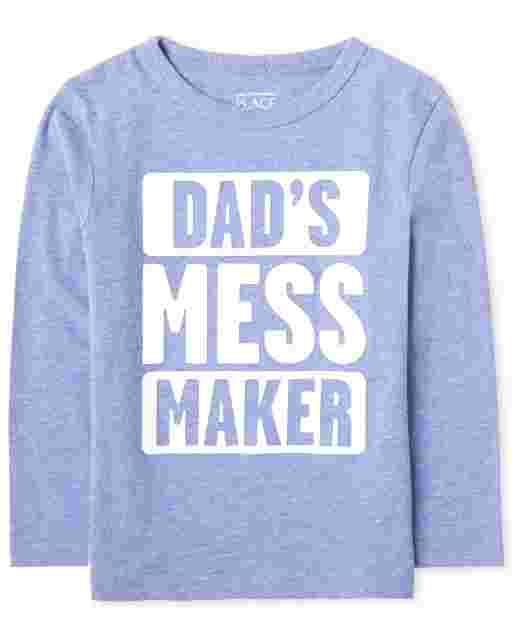 Baby And Toddler Boys Long Sleeve 'Dad's Mess Maker' Graphic Tee