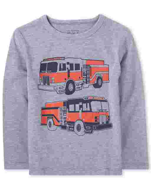 Baby And Toddler Boys Long Sleeve Fire Truck Graphic Tee