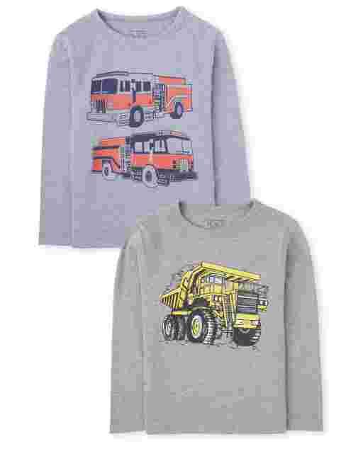 Paquete de 2 camisetas gráficas de vehículos de manga larga para bebés y niños pequeños