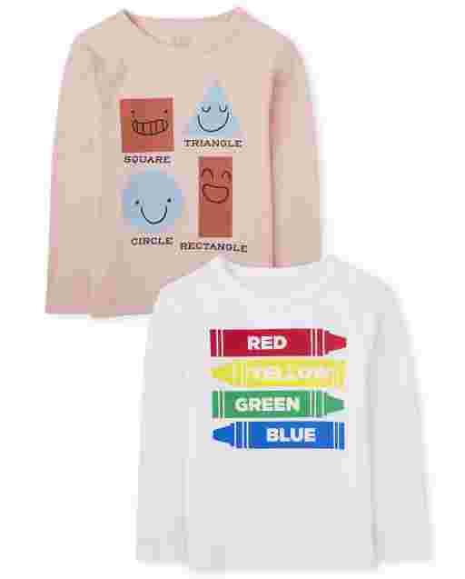 Paquete de 2 camisetas con gráficos de formas y colores de manga larga para bebés y niños pequeños