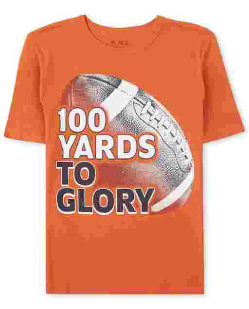 Boys Short Sleeve '100 Yards To Glory' Football Graphic Tee