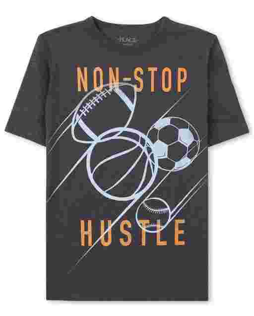 Boys Short Sleeve 'Non Stop Hustle' Sports Graphic Tee
