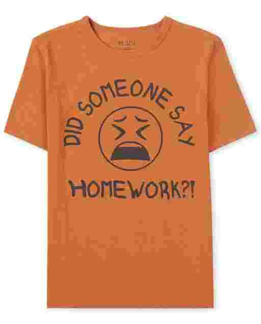 Boys Short Sleeve 'Did Someone Say Homework?!' Graphic Tee