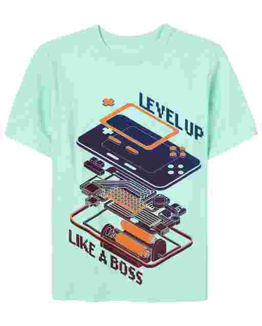 Boys Short Sleeve 'Level Up Like A Boss' Video Game Graphic Tee