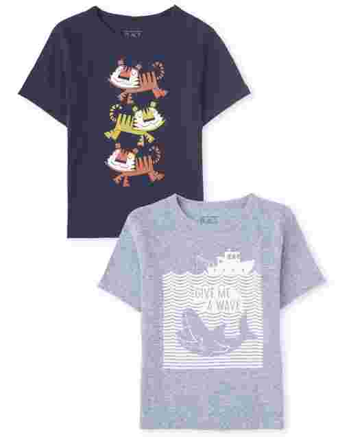 Baby And Toddler Boys Short Sleeve Animals Graphic Tee 2-Pack