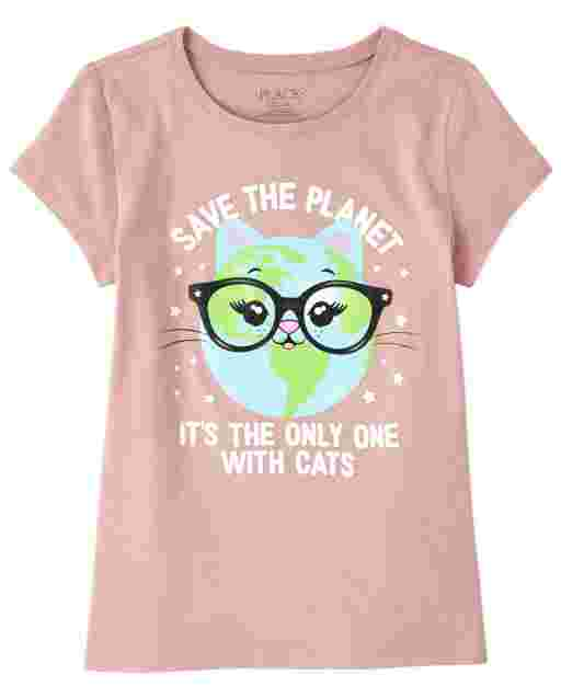 Girls Short Sleeve Glitter 'Save The Planet' Cat Graphic Tee
