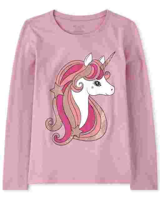Girls Long Sleeve Glitter Unicorn Graphic Tee