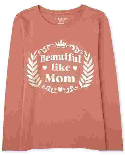 Girls Long Sleeve Foil 'Beautiful Like Mom' Graphic Tee