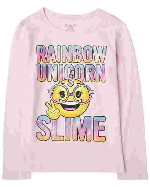 Girls Long Sleeve 'Rainbow Unicorn Slime' Emoji Graphic Tee