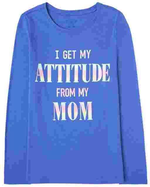 Girls Long Sleeve 'I Get My Attitude From My Mom' Graphic Tee