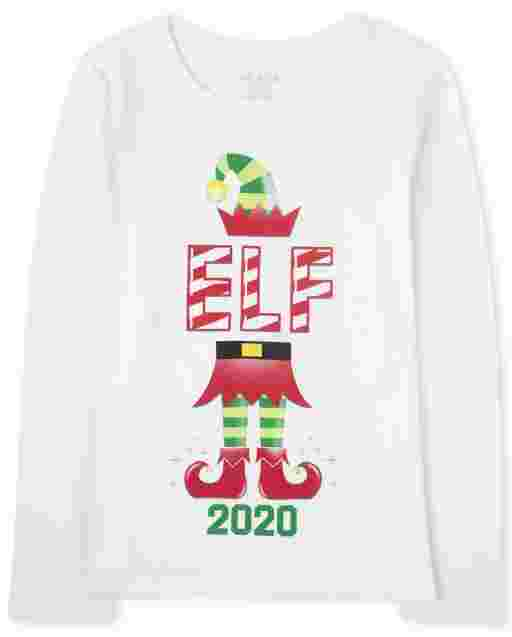 Girls Matching Family Christmas Long Sleeve 'Elf 2020' Graphic Tee
