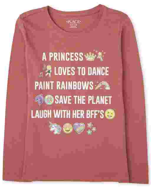 Girls Long Sleeve Emoji Story Graphic Tee