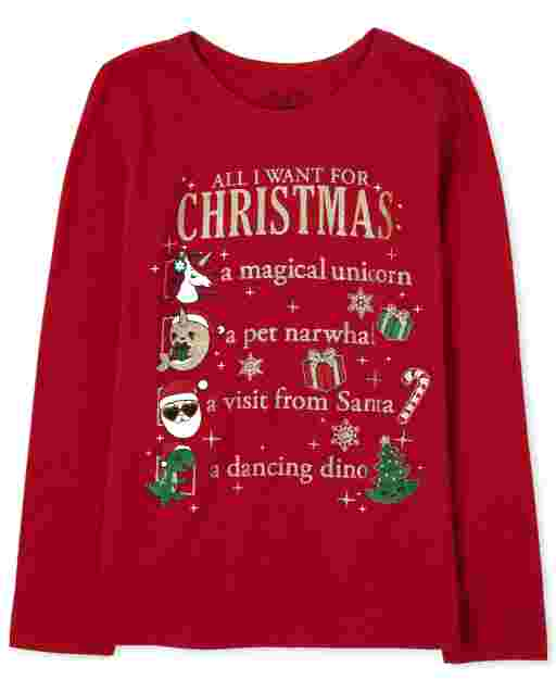 Girls Christmas Long Sleeve Glitter 'All I Want For Christmas' List Graphic Tee
