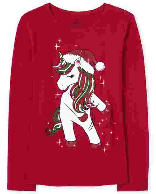 Girls Christmas Long Sleeve Dancing Unicorn Graphic Tee
