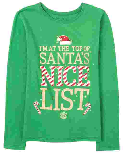 Girls Christmas Long Sleeve Glitter 'I'm On The Top Of Santa's Nice List' Graphic Tee
