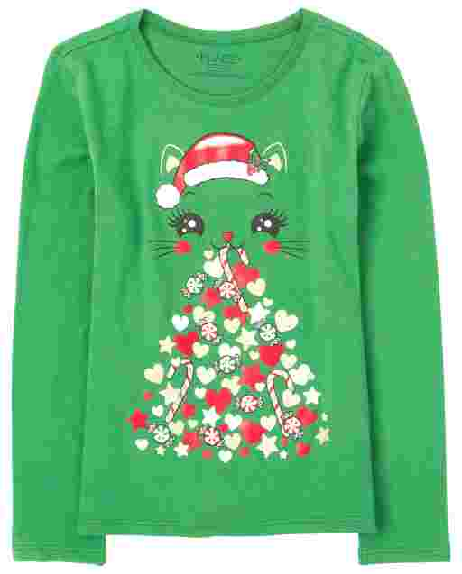Girls Christmas Long Sleeve Cat Graphic Tee
