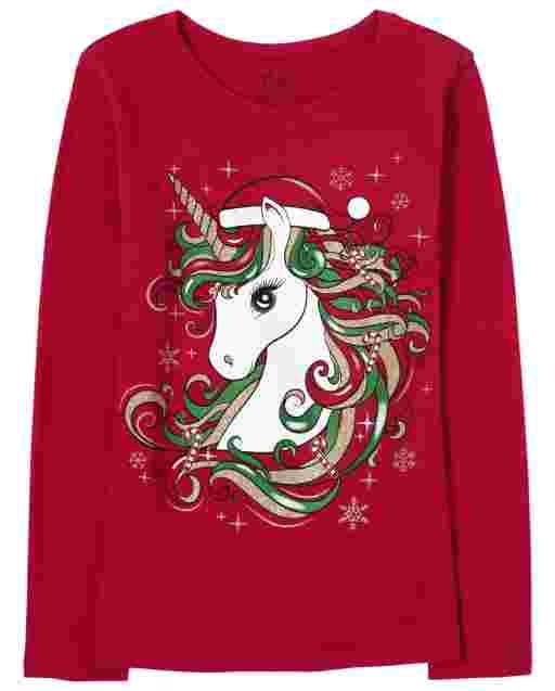 Girls Christmas Long Sleeve Glitter Unicorn Graphic Tee