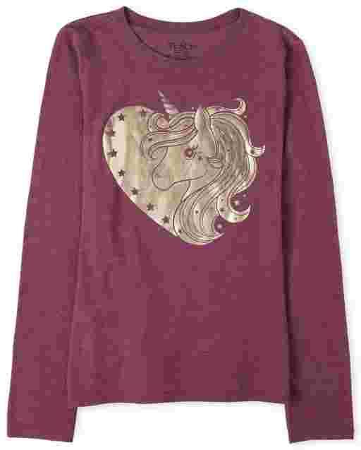 Camiseta estampada de unicornio laminado de manga larga para niñas