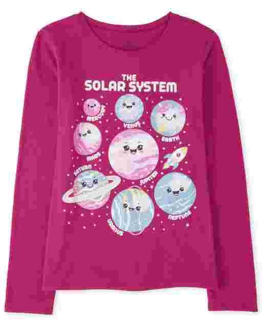 Camiseta de manga larga con estampado ' planetas y purpurina ' El sistema solar ' para niñas