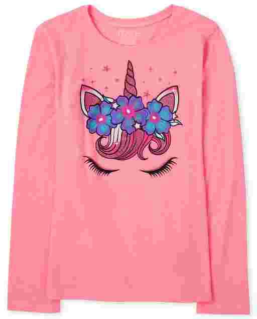 Camiseta con estampado de cara de unicornio de manga larga para niñas