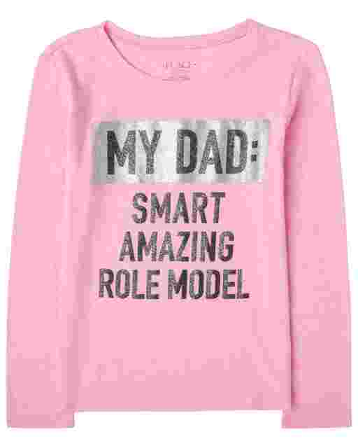 Girls Long Sleeve Glitter 'My Dad: Smart Amazing Role Model' Graphic Tee