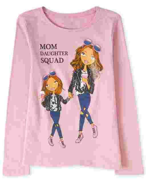 Camiseta estampada ' Mom Daughter Squad ' manga larga para niñas
