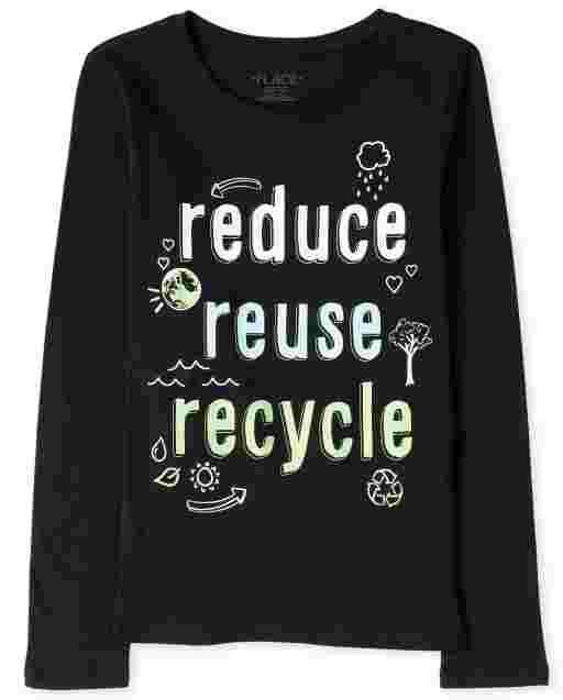 Camiseta de manga larga para niñas ' Reducir reutilizar reciclar ' camiseta gráfica