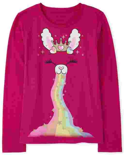 Girls Long Sleeve Rainbow Bunny Graphic Tee