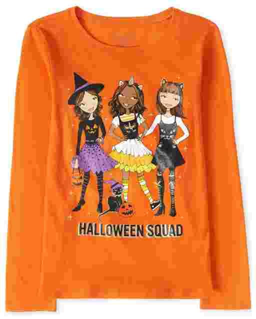 Camiseta con estampado de escuadrón de manga larga de Halloween para niñas