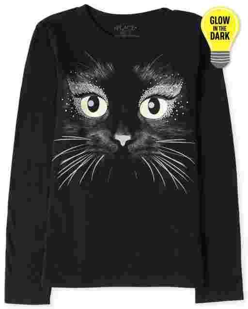 Camiseta con estampado de gato que brilla en la oscuridad de manga larga de Halloween para niñas