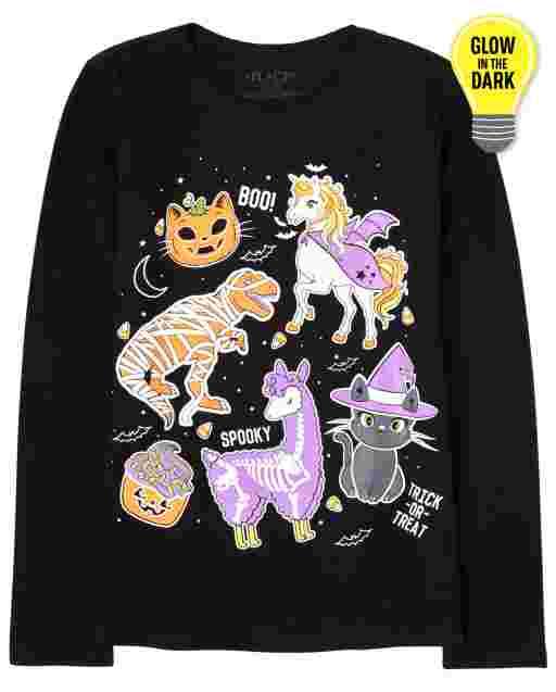 Girls Halloween Long Sleeve Glow In The Dark Emojis Graphic Tee
