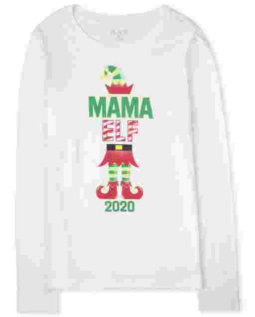 Womens Matching Family Christmas Long Sleeve 'Mama Elf 2020' Graphic Tee