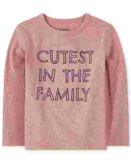 Camiseta estampada de manga larga para bebés y niños pequeños ' lindo de la familia '
