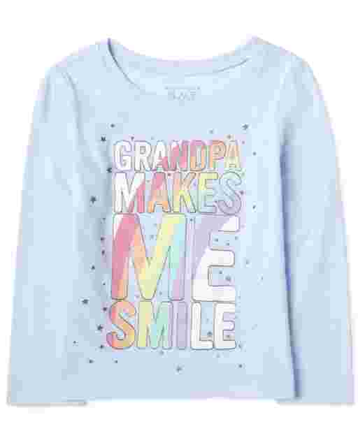 Baby And Toddler Girls Long Sleeve 'Grandpa Makes ME Smile' Rainbow Graphic Tee