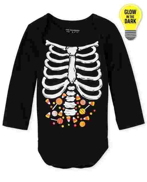 Body con estampado de esqueleto de caramelo unisex de manga larga de Halloween para bebé que brilla en la oscuridad