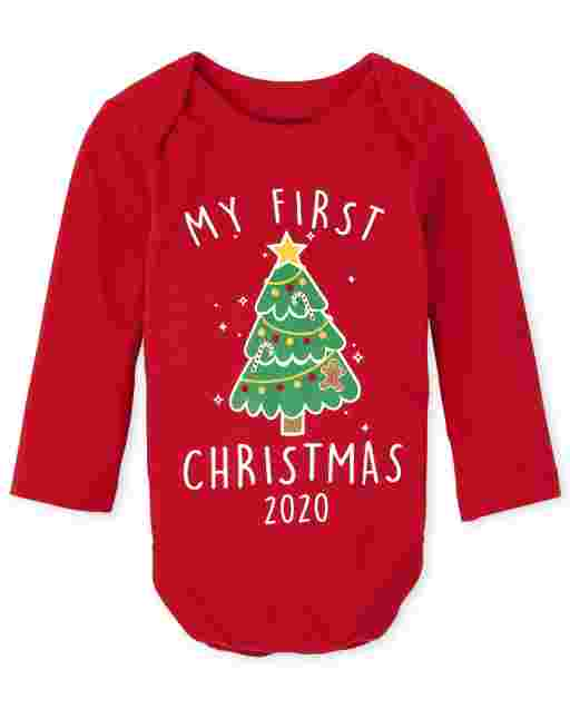 Unisex Baby Christmas Long Sleeve 'My First Christmas 2020' Graphic Bodysuit