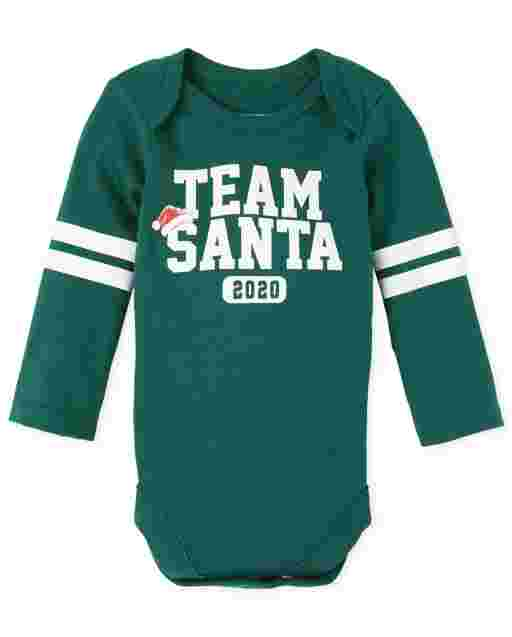 Unisex Baby Matching Family Christmas Long Sleeve 'Team Santa 2020' Graphic Bodysuit