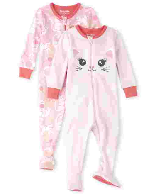 Baby And Toddler Girls Long Sleeve Cat Snug Fit Cotton Footed One Piece Pajamas 2-Pack