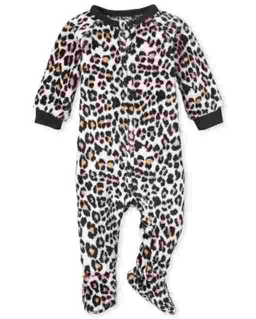 Baby And Toddler Girls Mommy And Me Long Sleeve Leopard Print Fleece Matching Footed One Piece Pajamas