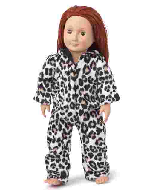 Doll Mommy And Me Long Sleeve Leopard Fleece Matching Hooded One Piece Pajamas