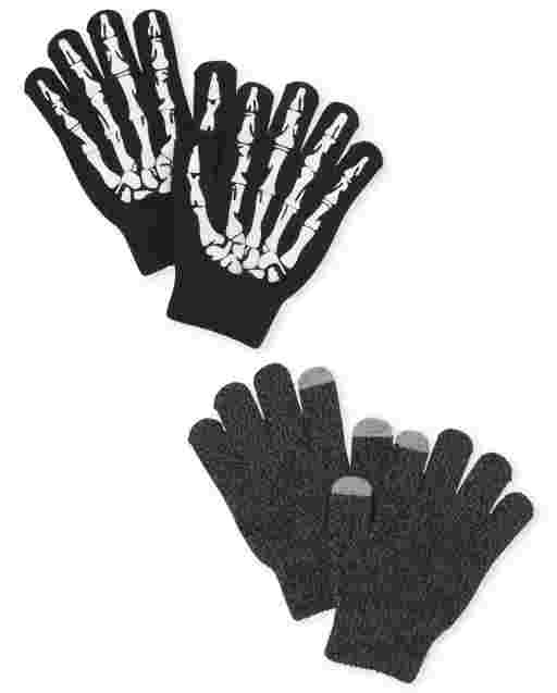 Boys Skeleton Texting Gloves 2-Pack