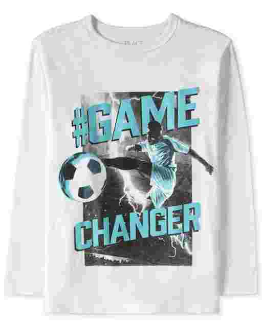 Boys Long Sleeve 'Hashtag Game Changer' Soccer Graphic Tee